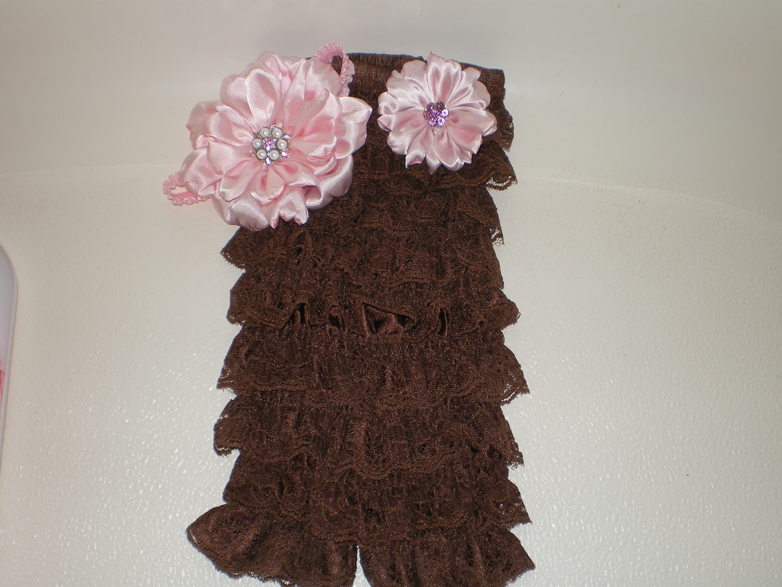 BABY GIRL BROWN  LACY PETTI  ROMPER PHOTO PROP WITH HEADBAND