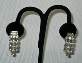 Vintage Rhinestone Dangle Earrings Clip On 1950s Large Baguette and Square - $15.00
