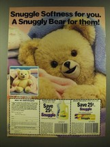 1990 Snuggle Fabric Softener Ad - Snuggle Softness for you - $14.99