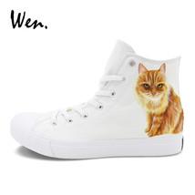 Wen Pet Cat Custom Design Hand Painted Canvas Shoes White High Tops Men . 29cacc718