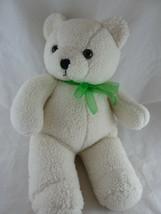 "Plush sherpa off white teddy bear 16"" Brown eyes Cuddly - $19.79"