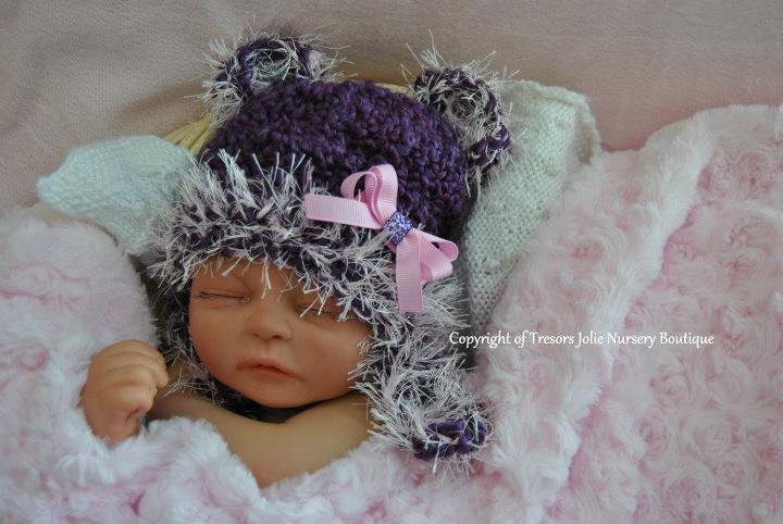 BABY GIRL PURPLE AND PINK TEDDY BEAR PHOTO PROP HAT