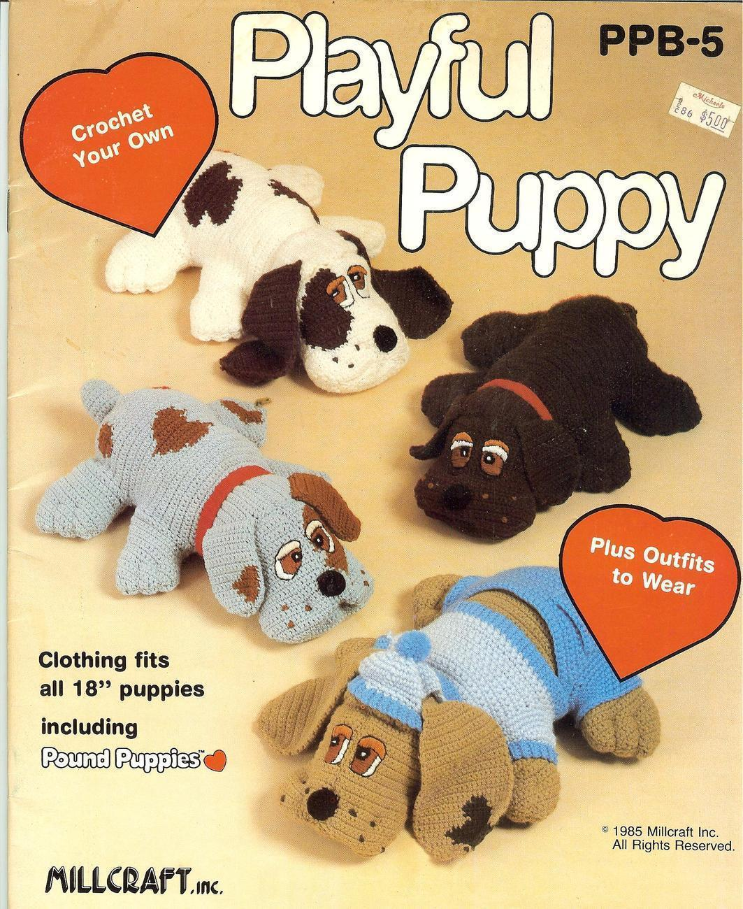 "Rare 18"" Pound Puppies Crochet Pattern Dated and 30 similar items"