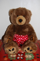 """Build A Bear Brown Bear with Paw Pads & Heart Boxers Shorts 16"""" Valentine's - $19.95"""