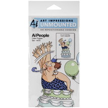 Art Impressions People Cling Rubber Stamps-Cake Popper Set - $16.24