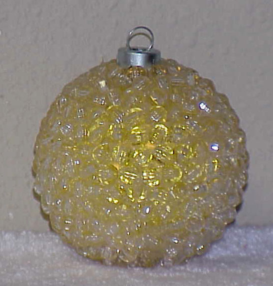 Primary image for Vintage BEADED Glass Christmas Ornament - YELLOW