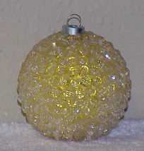 Vintage BEADED Glass Christmas Ornament - YELLOW - $9.00
