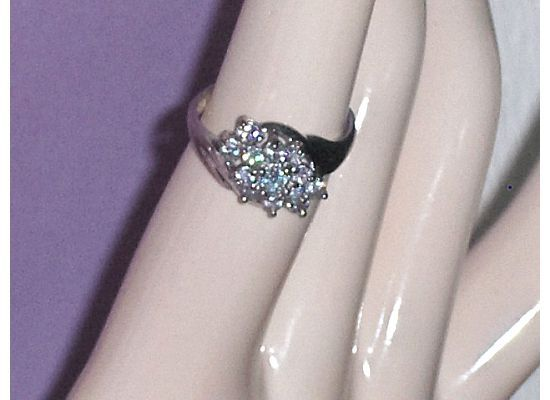 Diamonique Sterling Silver CZ Cluster  Ring Size 7