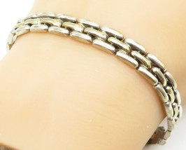 925 Sterling Silver - Vintage Brick Layer Style Shiny Chain Bracelet - B... - $40.95