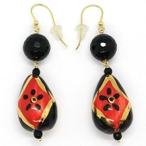 18K YELLOW GOLD EARRINGS ONYX, BLACK AND RED CERAMIC DROP HAND PAINTED IN ITALY image 1