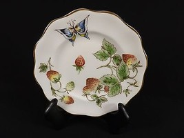 COALPORT STRAWBERRY SCALLOPED BREAD PLATE BUTTERFLY BONE CHINA -11 AVAIL... - $9.99