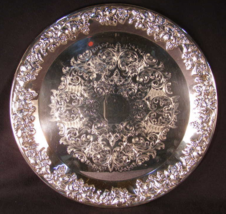 Round Silverplate Serving Tray With Grape Motif - (sku#1818) - $20.99
