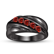 925 Silver 14k Black Gold Fn. 1/2 Ct Red Garnet Men's Engagement Wedding Ring  - $65.33