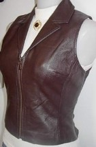 Brown Leather Zippered Vest Western Halter Horse Rodeo Queen Show Apparel Hobby  - $50.00