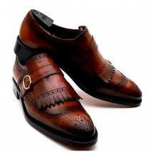 Brown Premium Leather Vintage Single Buckle Strap Handcrafted Men Brogues Shoes - $139.90+