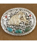 Navajo Turquoise Coral Sterling Silver Bear Bel... - $333.07
