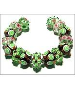 15 Lampwork Handmade Beads Glass Col: Green etc... - $9.99