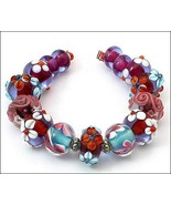 15 Lampwork Handmade Beads Glass Col:  Blue, Pink and oder - $9.99