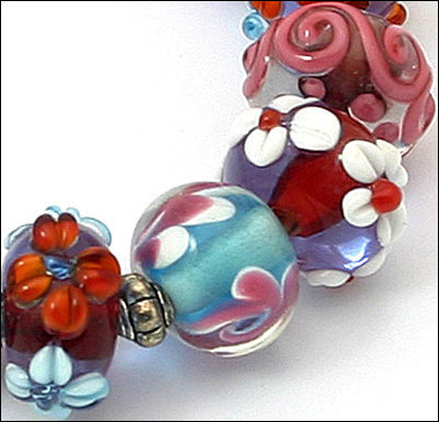 15 Lampwork Handmade Beads Glass Col:  Blue, Pink and oder