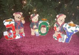 Vintage Christmas Ceramic Bisque Joy Teddy Bear Taper Candle Holders J O... - $10.68