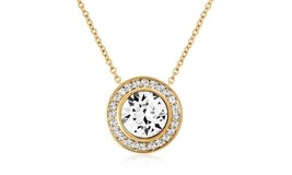 """Rose Moissanite Halo Pendant Necklace 14k Rose Gold Plate Jewelry 18"""" Ch... - $11.99"""