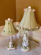 Set Pair of Bunny Rabbit Lamps Ceramic  Ribbon Shades & Mackenzie Childs... - $295.02