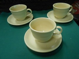 Great Fiesta Yellow Sunflower Set Of 3 Cups & Saucers - $9.49