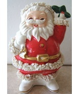 Vintage SANTA CLAUS GREEN IVY CHRISTMAS Ceramic COIN BANK SPAGHETTI TRIM... - $168.99