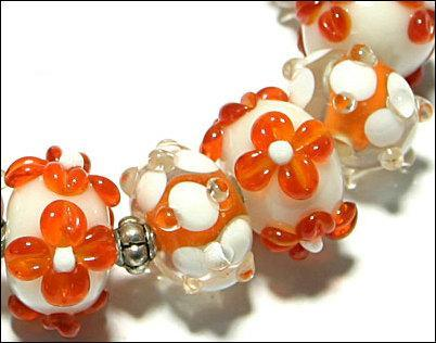 15 Lampwork Handmade Beads Glass Col:  Orange, White  and oder