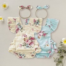 0 18M Summer Newborn Baby Girls Clothes Cute Floral Rompers Set Flare Sl... - $12.69
