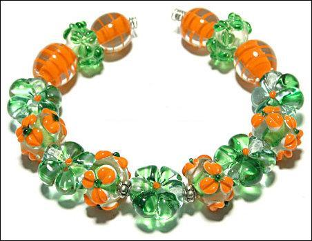 Primary image for 15 Lampwork Handmade Beads Glass Col: Green, Orange  and oder