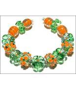 15 Lampwork Handmade Beads Glass Col: Green, Orange  and oder - $9.99