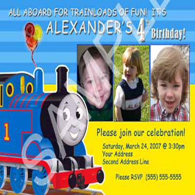 Boys Girls Thomas The Tank Engine Train Custom Winter Birthday Party Invitations