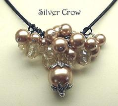 Champagne Beige Glass Pearl & Crystal Cluster Necklace - $20.99