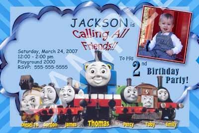 Boys Girls Thomas The Tank Engine Train Custom Winter Birthday Party Invitations