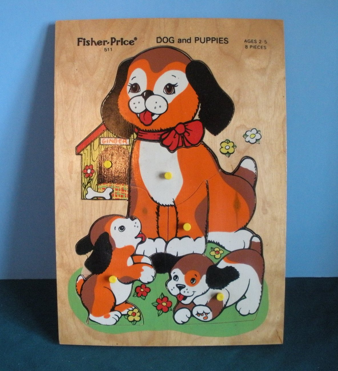 Primary image for Vintage Fisher Price Pick Up 'N Peek #511 Wood Puzzle Dog and Puppies VG+++-EXC!