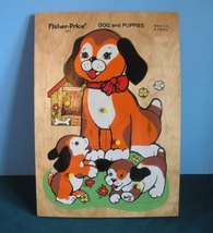 Vintage Fisher Price Pick Up 'N Peek #511 Wood Puzzle Dog and Puppies VG... - $22.99