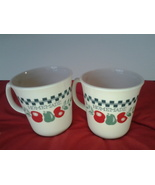 Corelle Corning Lot of 2 Homemade Mugs with Red & Green Apples  - $9.99