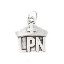 STERLING SILVER ONE SIDED LICENSED PRACTICAL NURSE LPN CHARM/PENDANT image 1