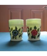 "L.G. WRIGHT/Northwood 4"" Custard Glass Tumblers w/Hand Painted Flowers - $15.00"
