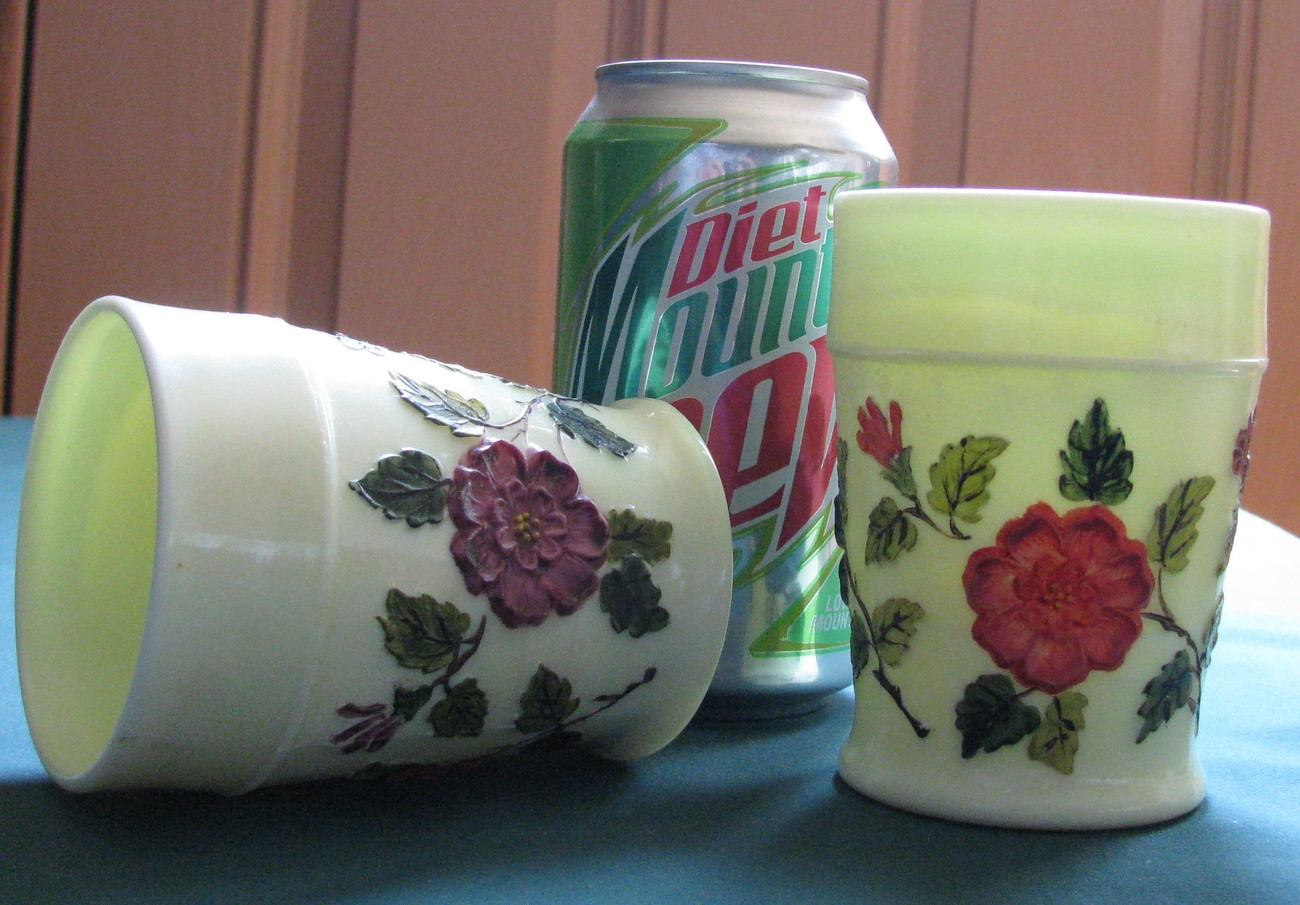 "L.G. WRIGHT/Northwood 4"" Custard Glass Tumblers w/Hand Painted Flowers"