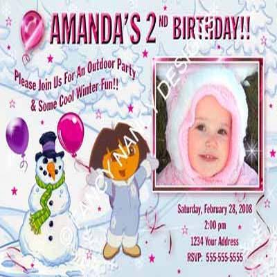 Any Dora The Explorer Go Diego Go Girls Custom Photo Birthday Party Invitations