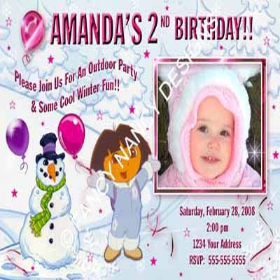 Dora The Explorer Go Diego Go Girls Princess Photo Birthday Party Invitations