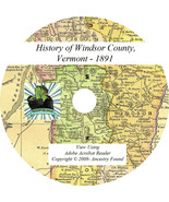 WINDSOR County Vermont VT - History & Genealogy -  Families - Rosters CD... - $5.86