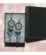 Earrings, Black Dream Catcher, Dangle, Native American, Fish hook ear wires - $9.79