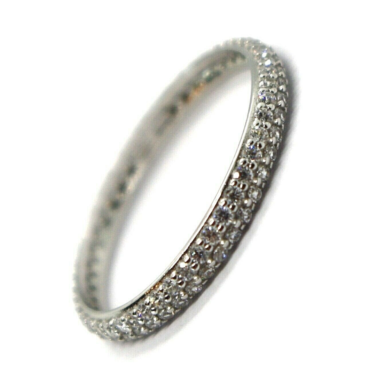 18K WHITE GOLD ETERNITY BAND RING, DOUBLE CUBIC ZIRCONIA ROW, THICKNESS 2.5 MM