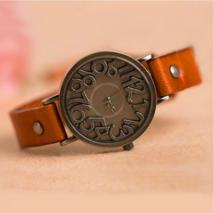 Vintage Unique Digital Quartz Watch Hollow Genuine Leather Strap - $14.79