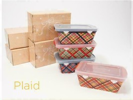 Temp-tations Set of 4 Mini Loaf Pans with Gift Boxes Plaid K49168  - $32.99