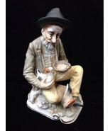 Vintage Norleans Japan Man Sitting W/ Chicken Figure - $9.90