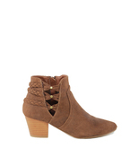 London Rag Women's Cognac Colour Pointed Toe Zipper Bootie - £58.00 GBP+